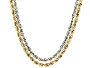 Gold and Silver Tone Crystal Accent Set of 2 Rope Convertible Chains