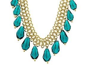 Graduated Teal Blue Bead Necklace