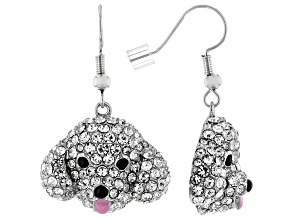 Silver Tone with Black and White Crystal Poodle Dangle Earrings