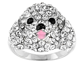Silver Tone with Black and White Crystal Poodle Ring