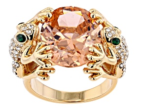 Multi Color Crystal Gold Tone Frog Ring