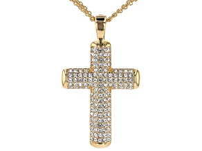 White Crystal Gold Tone Cross Pendant with Chain