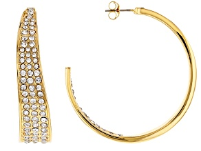 Gold Tone White Crystal Inside-Out Hoop Earrings