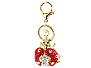 Multi Color Crystals  Gold Tone Ladybug Keychain