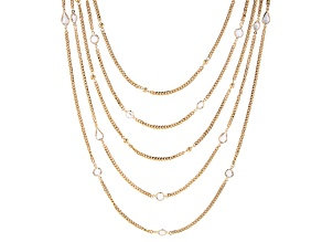 Crystal Gold Tone 5 Strand Layered Chain Necklace