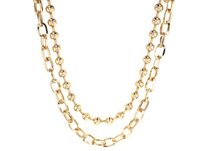 Gold Tone Two Strand Statement Necklace
