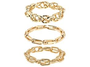Gold Tone Set of 3 Stretch Chain Bracelets