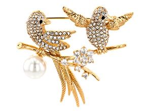 Gold Tone White and Black Crystal with Pearl Simulant Love Bird Brooch