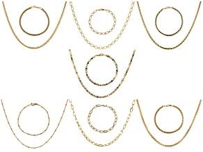 Gold Tone 14 Piece Jewelry Roll Chain Set