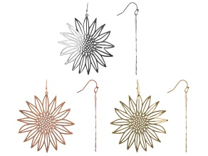 Gold, Silver, Rose Tone Set of 3 Floral Earrings