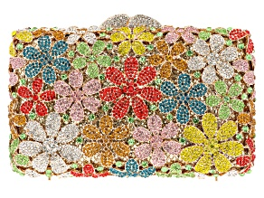 Gold Tone Multi Color Crystal Floral Clutch