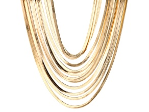 Gold Tone 12 Row Set of 2 Layered Chain Necklaces
