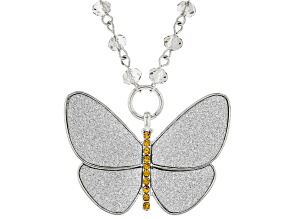 Silver Tone Yellow Crystal and Gray Bead Butterfly Shimmer Necklace