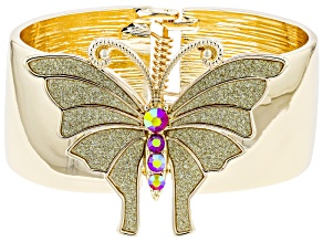 Gold Tone Red Crystal Butterfly Shimmer Cuff
