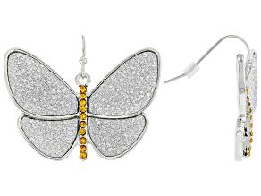 Yellow Crystal, Silver Tone Butterfly Shimmer Earrings