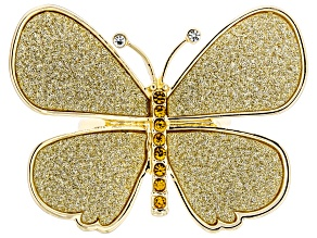 Yellow & White Crystal Gold Tone Butterfly Shimmer Ring