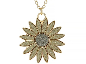 "Gold Tone Sunflower Shimmer Pendant with 18"" Chain"