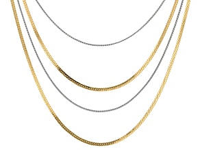 Silver and Gold Tone White Crystal Accent Convertible Herringbone Set of 4 Necklace Strands