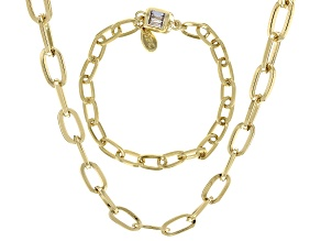Gold Tone White Crystal Flat Mini Paperclip Necklace and Bracelet Set