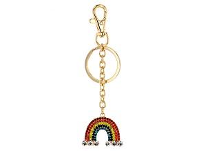 Gold Tone, Multi Color Crystal Rainbow Keychain