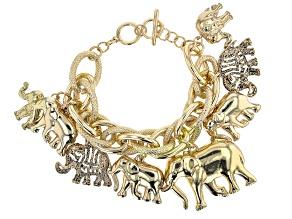 Gold Tone Elephant Charm Bracelet