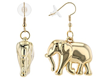 Picture of Gold Tone Elephant Dangle Earrings