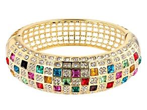 Gold Tone Mixed Shape Multi Color Crystal Bangle Bracelet