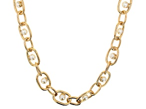 Gold Tone Pearl Simulant Chain Necklace