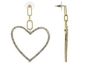 Gold Tone White Crystal Paperclip Heart Shaped Dangle Earrings