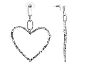 Silver Tone White Crystal Paperclip Heart Shaped Dangle Earrings