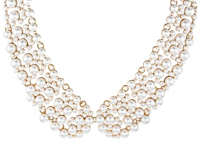Gold Tone Pearl Simulant Collar Necklace
