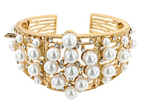 Gold Tone Pearl Simulant and White Crystal Cuff Bracelet