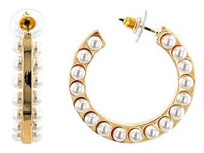 Gold Tone Pearl Simulant Hoop Earrings
