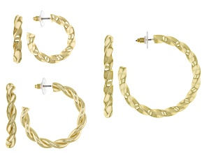 Gold Tone, Small, Medium, and Large Set of 3 Hoops
