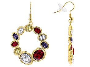 Gold Tone Multi Shape and Multi Color Crystal Earring