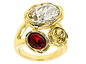 Gold Tone Oval Multi Color Crystal Ring