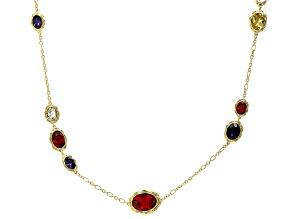 Multi Shape and Multi Color Crystal Gold Tone Necklace