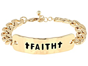 "Gold Tone ""Faith"" Link Bracelet"