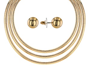 Gold Tone 3-Row Snake Chain Necklace and Stud Earring Set