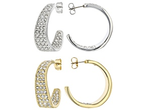 White Crystal, Gold and Silver Tone Set of 2 Inside Out Hoop Earrings
