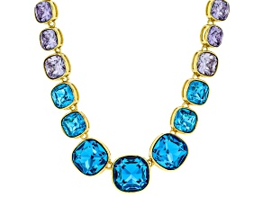 Blue and Purple Crystal Gold Tone Graduated Necklace