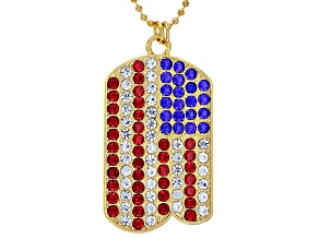 Red, White, and Blue Crystal American Flag Gold Tone Dog Tag Pendant with Chain