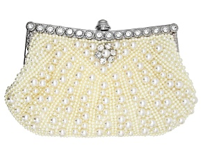 Pearl Simulant And White Crystal Silver Tone Clutch