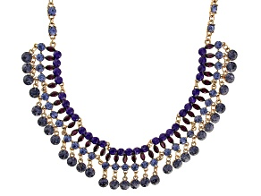 Purple Crystal, Gold Tone Statement Collar Necklace