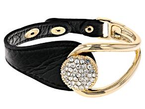 White Crystal and Black Imitation Leather Gold Tone Bracelet