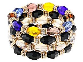 Gold Tone Multi Colored Beaded Stretch Bracelet Set of 4