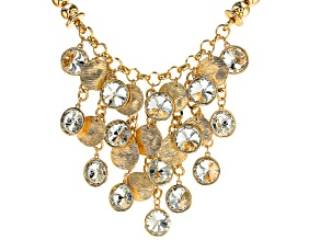 Gold Tone and White Crystal Statement Dangle Necklace