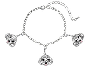 Silver Tone Black and White Crystal Poodle Charm Bracelet