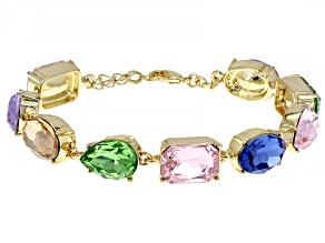 Multicolor Mixed Shape Crystal Gold Tone Station Bracelet