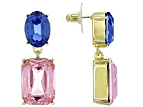 Light Pink and Blue Crystal Gold Tone Dangle Earrings